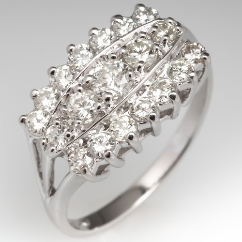 1 Carat Total 14K White Gold Diamond Anniversary Ring