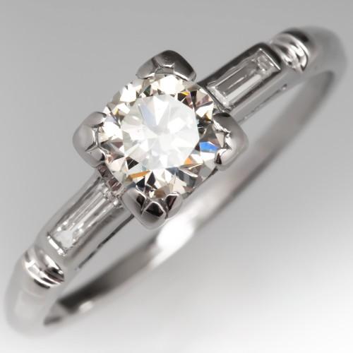 1/2 Carat Vintage Diamond Engagement Ring Platinum