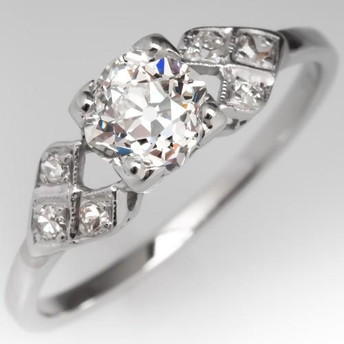 Antique Engagement Ring Old Mine Cut Diamond Detailed Platinum