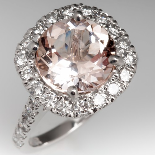 Morganite & Diamond Halo Ring 14K White Gold