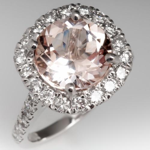 Morganite & Diamond Halo Engagement Ring 14K White Gold