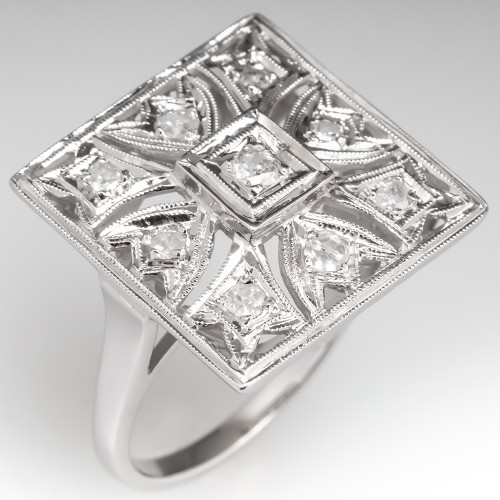 1950's Vintage Diamond Cluster Openwork Cocktail Ring 14K White Gold
