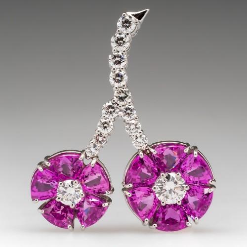 Bayco New York Cherry Brooch Pin Diamonds & Pink Sapphires