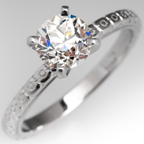 1 Carat Old European Cut Diamond Solitaire Engagement Ring Engraved 18K