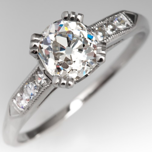 1 Carat Heirloom Old Mine Cut Diamond Vintage Engagement Ring