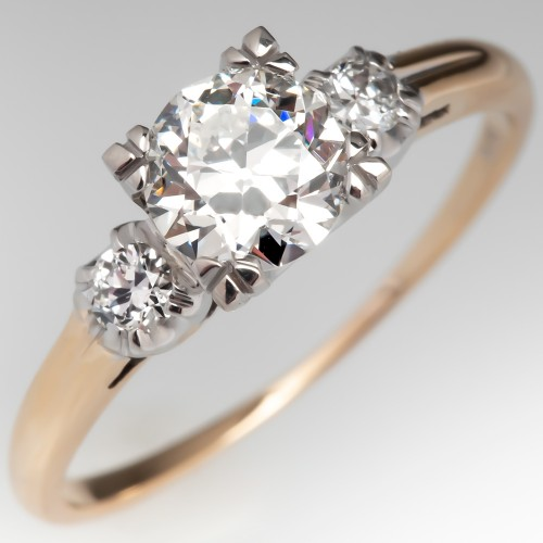 Transitional Cut Diamond Vintage Engagement Ring 14K Yellow Gold