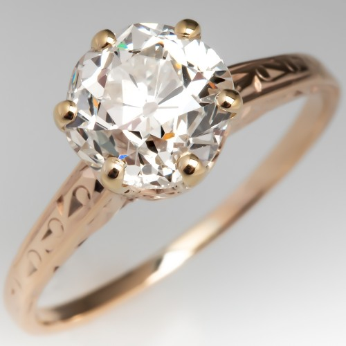 1.7 Carat Old Euro Diamond Solitaire Crown Engagement Ring