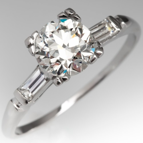 1 Carat Vintage Diamond Engagement Ring w/ Accents
