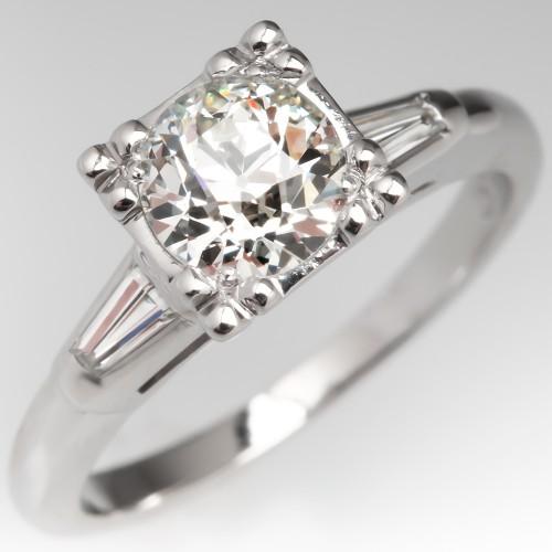 Old European Cut Diamond Vintage Engagement Ring Illusion Fishtail Head