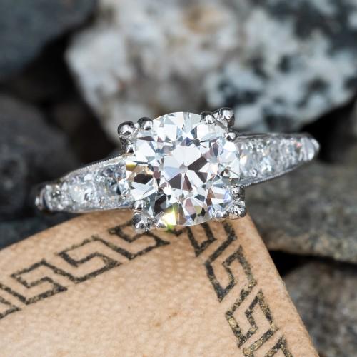 1.6CT Antique Old Euro Diamond Engagement Ring