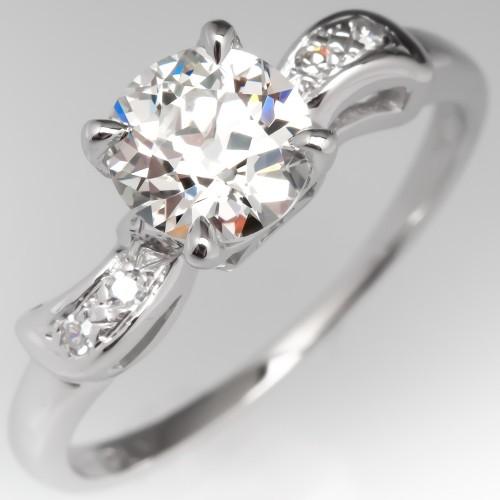 Old Euro Diamond Vintage Detailed Engagement Ring 14K