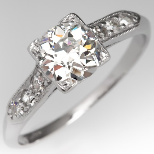 Old Euro Diamond Perfect Low Profile Antique Engagement Ring
