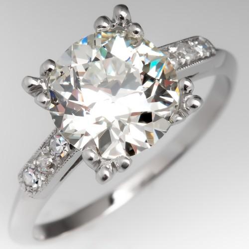 2 Carat Old Euro Diamond Engagement Ring Fishtail Head