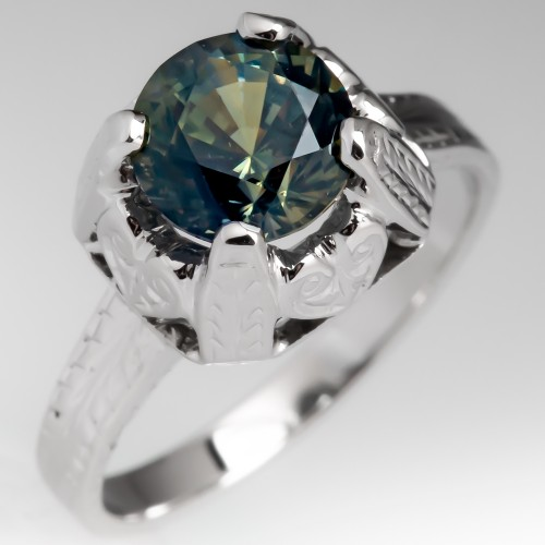 No Heat Yellow Blue Green Sapphire Engagement Ring Engraved 18K