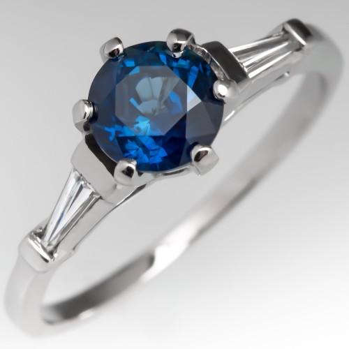 No Heat Blue Sapphire & Baguette Diamond Vintage Engagement Ring
