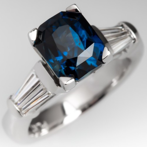 3 Carat Deep Cut Greenish Blue Sapphire Engagement Ring Platinum
