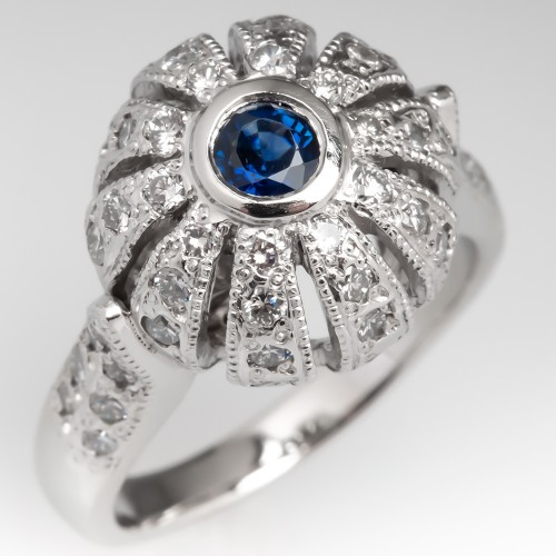Blue Sapphire & Diamond Cocktail Ring Platinum Floral