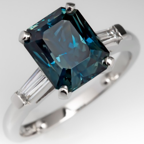 4 Carat Multi-Color Sapphire Engagement Ring Platinum w/ Baguettes