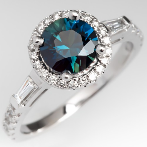 1 Carat Rich Teal Sapphire Halo Engagement Ring 14K