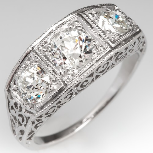 Filigree Three Stone Antique Diamond Engagement Ring