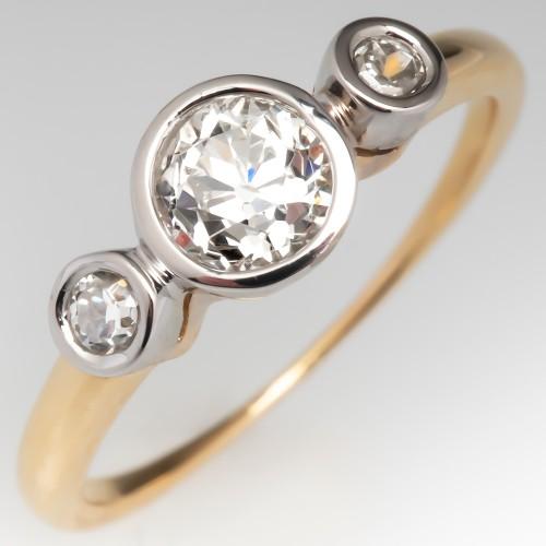 Three Stone Bezel Set Old Euro Cut Diamond Engagement Ring
