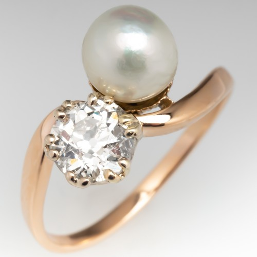 Circa 1910 Twin Natural Pearl & Old Euro Diamond Ring 14K