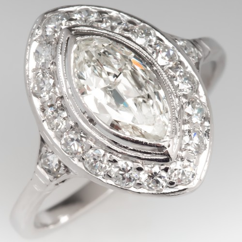 Marquise Diamond Bezel Vintage Engagement Ring Platinum