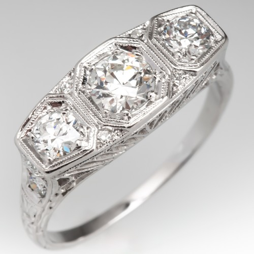 Three Stone Vintage Filigree Diamond Engagement Ring