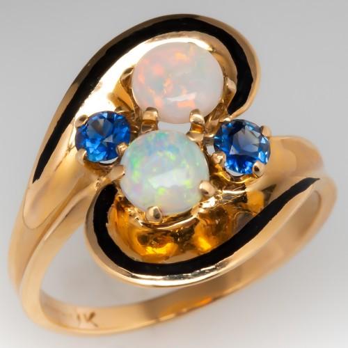 1970's Opal & Blue Sapphire Ring 14K Gold