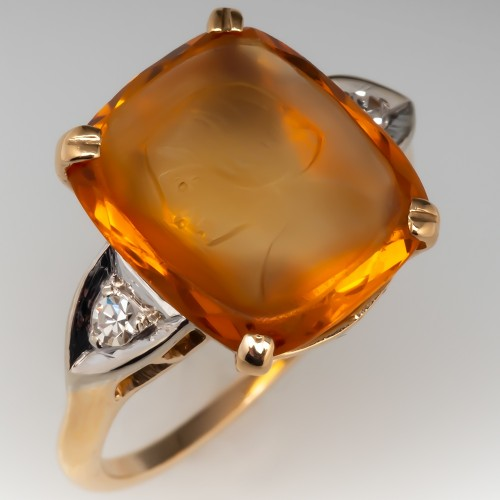 Vintage 1950's Citrine Intaglio Ring w/ Diamonds 14K Gold
