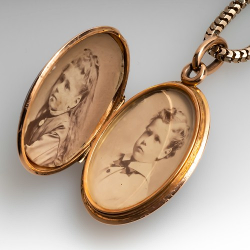 Very Old Victorian Rose Gold Cameo Locket Pendant with Chain
