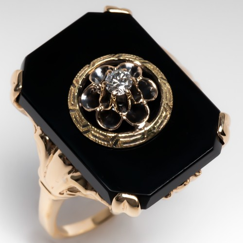 Antique 1930's Black Onyx & Old Euro Diamond Gold Ring