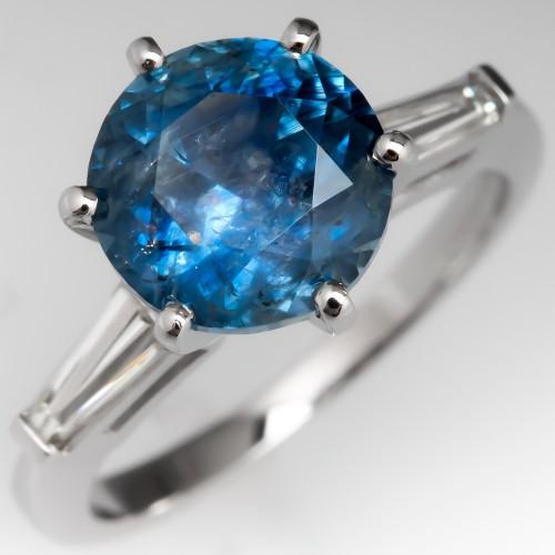3 Carat Montana Sapphire Engagement Ring Platinum w/ Baguettes