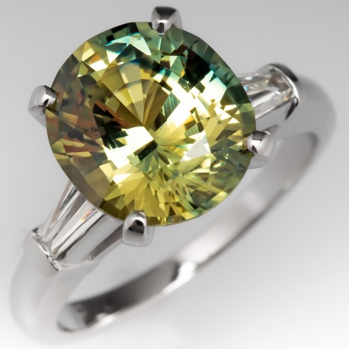 No Heat 4 Carat Icy Green Sapphire Engagement Ring Platinum