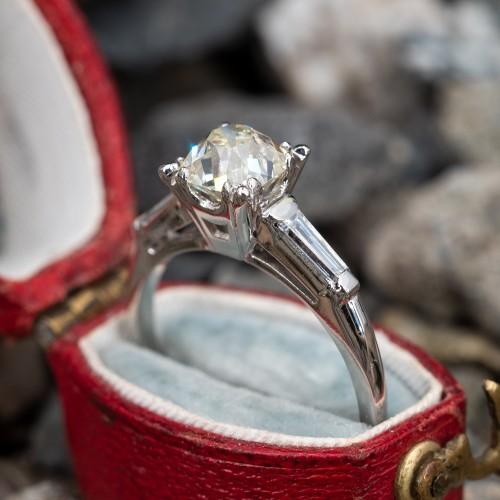 Vintage Platinum Engagement Ring Heirloom Old Mine Cut Diamond