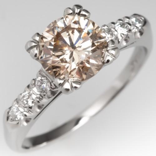 1.5 Carat Light Champagne Diamond Engagement Ring Platinum