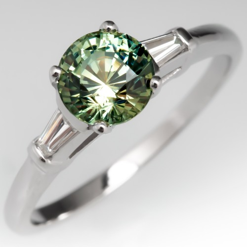 No Heat Icy Green Sapphire Engagement Ring w/ Baguettes Platinum
