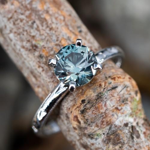 No Heat Montana Sapphire Solitaire Engagement Ring 18K