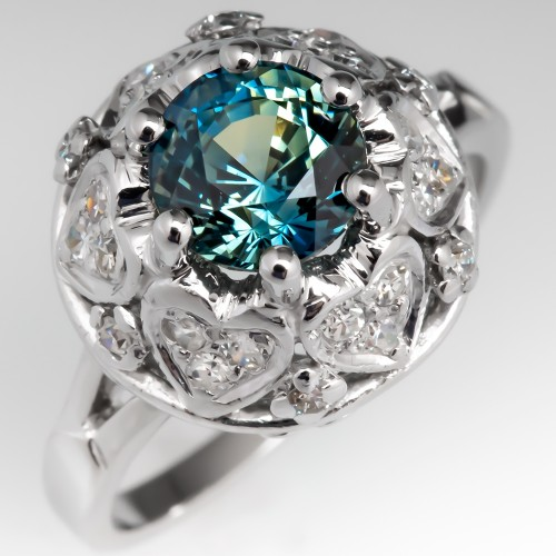 No Heat Icy Blue Green Sapphire Engagement Ring Heart Accents