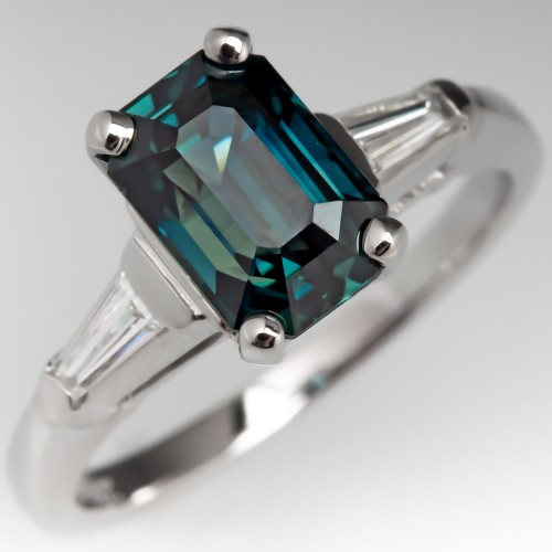 Emerald Cut Dark Teal Sapphire Engagement Ring Platinum