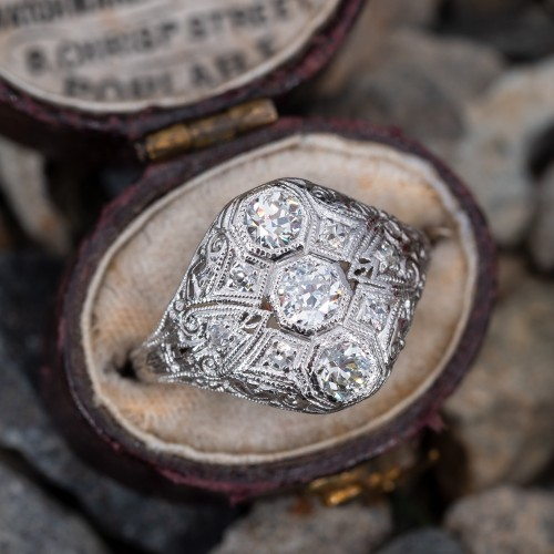 Transitional Cut Diamond Late Deco Filigree Ring Platinum