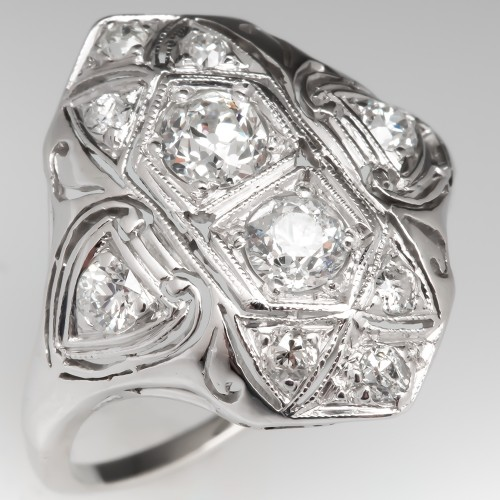 Old Euro Diamond Filigree Antique Dinner Ring Platinum
