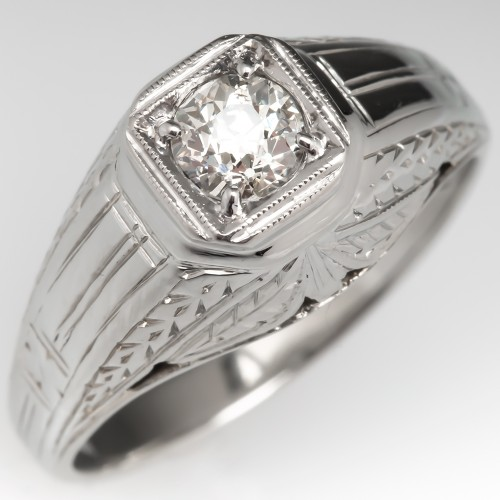Old Euro Diamond Art Deco Mens Ring Engraved 18K White Gold