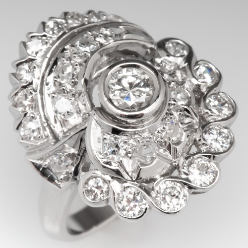 1940's Vintage Diamond Swirl Cluster Cocktail Ring Platinum