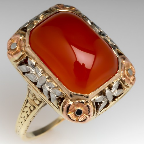 Antique Carnelian Agate Cocktail Ring 14K Gold Hidden Initials