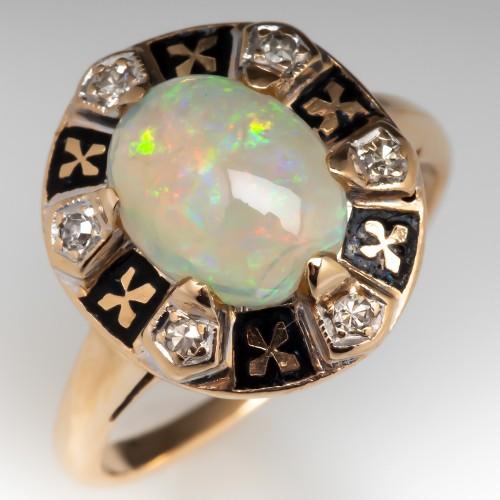 Antique Enameled Opal & Diamond Ring 14K Gold