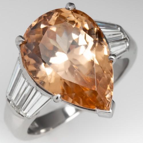Pear Cut 4.6 Carat Brown Zircon Ring Platinum w/ Diamonds