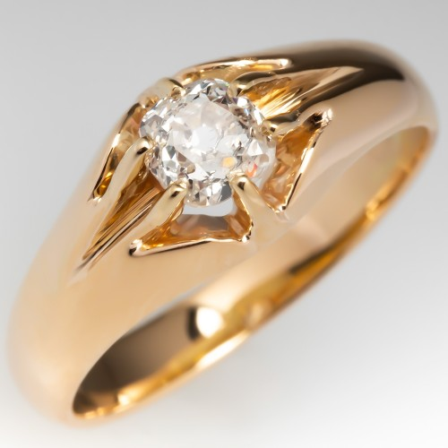 1f5f88951 Victorian Old Mine Cut Diamond Band Ring 14K Gold Mens or Ladies