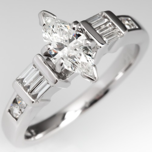 Marquise Diamond Engagement Ring w/ Accents 18K