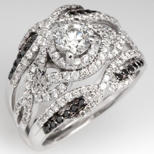 Modern Fused Diamond Ring Set 14K w. Black Diamond Accents